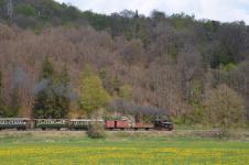 .... und jetzt: Dampfzug der Härtsfeld-Museumsbahn am 26. April 2014
