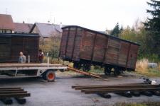 Abtransport des Gw 153 aus Laichingen, 9. November 1985