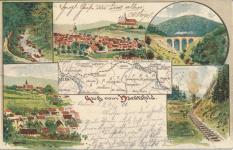 """Ansichtspostkarte """"Gruß vom Härtsfeld"""", gelaufen am 24. Oktober 1901, also kurz vor Eröffnung der Bahn"""