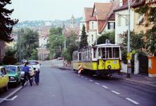 Zahnradbahn Stuttgart, 11. Juni 1979: Tw 103 und Bw 116 an der Haltestelle Liststraße
