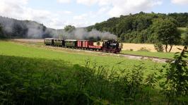 Durch das sich zwischen der Sägmühle und Iggenhausen verbreiternde Egautal strebt Lok 12 mit ihrem Zug talwärts. (Foto: Lukas Mutschler)