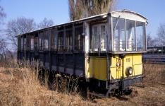 """""""Zacke"""" Bw 119 - heute HMB 4 - im Hannoverschen Straßenbahn-Museum, Sehnde am 10. März 1996"""