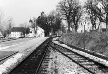 Bahnhof Neresheim, Ausfahrt in Richtung Aalen um 1970