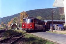 Der spätere T 37 als VT 14 der Südharz-Eisenbahn in Wieda Süd, ca. 1960