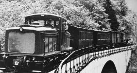 """Der heutige """"Jumbo"""" der Fa. Jung auf Probefahrt mit Brünigwagen und Güterwagen auf dem Viadukt, Mai 1954"""