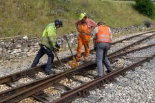 Gleisbauarbeiten im Bahnhof Neresheim