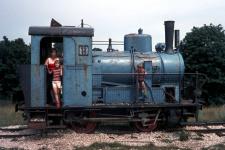 Lok WN 12 als Spielplatzgerät in Heidenheim noch in Voith-Blau, 1970er Jahre
