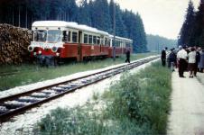 """T 31 und TA 253/254 """"Ziehharmonika"""" im Bahnhof Brünstholz anlässlich einer Sonderfahrt des Vereins der Härtsfelder, Mitte der 1960er Jahre"""