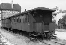 Herbrandwagen WN 6 und 7 abgestellt in Aalen Gbf, ca. 1966