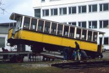 """Abtransport des """"Zacke"""" Bw 117 - heute HMB 1 - aus Leinfelden-Echterdingen am 14. März 1992"""
