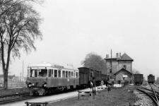 T 31 steht mit einem beachtlichen Güterzug abfahrbereit am Bahnsteig in Dillingen, 1956