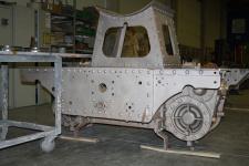 Fahrgestell sandgestrahlt und grundiert